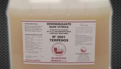 DESENGRASANTE INDUSTRIAL SOLUBLE EN AGUA CON TERPENOS DE NARANJA – COD. 2001 TERPENOS (2001TERPENOS / 2001T)